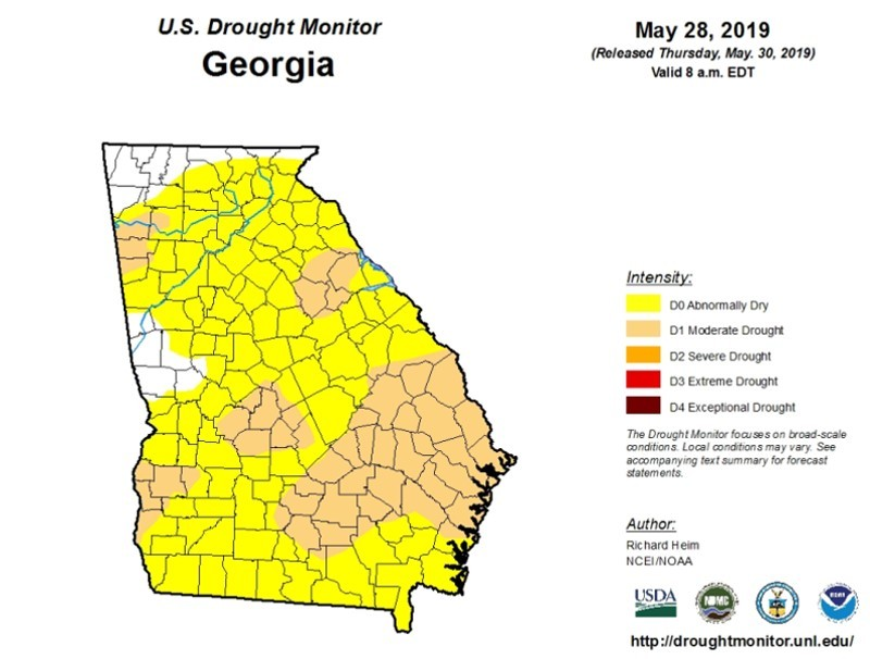 Map Of North Georgia Counties.Abnormally Dry Conditions Spread Into North Georgia Accesswdun Com
